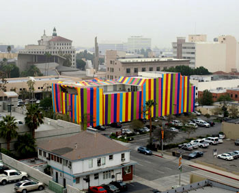 Susan Siltonu0027s exterior wrapping of the PMCA in a striped fumigation-style tent part of Inside Out. Photo Robert Wedemeyer & Susan Silton - Announcements - e-flux