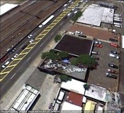 Harpo 2011 Grantee, Emma Wilcox, Route 21, Newark, NJ. Documentary image from Google Earth As Google Earth has updated its satellite imagery new text works by Wilcox have appeared. [Que Pague El Culpable]  Courtesy of the artist and The Print Center.