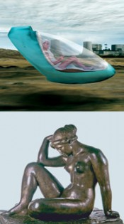 "Above:  Hussein Chalayan, ""Place to Passage,"" 2003. Below: Aristide Maillol, ""La Méditerranée,"" 1905–1907.*"