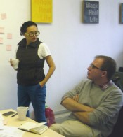 Anders Kreuger & Sofía Hernández Chong Cuy in Cardiff selecting the shortlist.