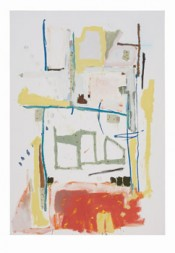 "Richard Aldrich, ""Untitled,"" 2010.Oil, wax, graphite and collage on linen.84 x 58 inches.*"