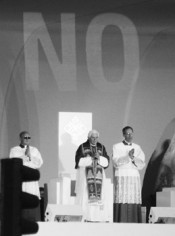 Santiago Sierra, NO Pope, Madrid 2011.*