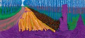 "David Hockney, ""Winter Timber"" (detail), 2009. Oil on fifteen canvases, 274.3 x 609.6 cm overall."