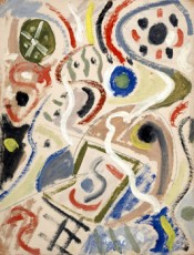 "Esteban Lisa, ""Juego con líneas y colores / Playing with Lines and Colors,"" c. 1954. Oil on paper."