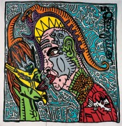 "Robert Combas, ""Couple psychopatex,"" 1995. Dental mask, phallus tip, vagina snake, opera soldier-saint. Keen eye, ready to bite or kiss himself. Acrylic on canvas, 135 x 135 cm.*"