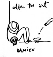 "Dan Perjovschi. ""Damien,"" 2012. Drawing, variable dimensions, variable technique. Courtesy the artist."