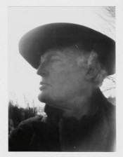 "Edvard Munch, ""Self-Portrait with Hat (Right Profile) at Ekely,"" 1930. Silver gelatin developing out paper, 11,7 x 7,9 cm.*"