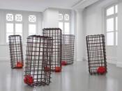 "Mona Hatoum, ""Kapan,"" 2012. Mild steel and glass. Installation at ARTER: 156 x 300 x 330 cm. Photo: Hadiye Cangökçe, courtesy of the Artist and ARTER."