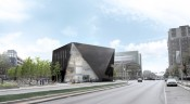 Museum of Contemporary Art Cleveland (MOCA) new building rendering. Shot from Euclid Avenue. Courtesy MOCA Cleveland.
