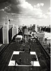 """Transcentrala New York, Moscow, Ljubljana,"" 1992–1997. ""Cross (New York)"". Black and white photograph by Leslie Fratkin. Courtesy the artists and Galerija Gregor Podnar Berlin/Ljubljana."