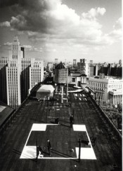 """Transcentrala New York, Moscow, Ljubljana,"" 1992–1997. ""Cross (New York)"". Black and white photograph by Leslie Fratkin. Courtesy the artists and Galerija Gregor Podnar Berlin/Ljubljana."