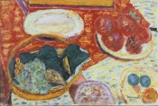 "Pierre Bonnard (French, 1867–1947), ""Still Life with Ham,"" 1940. Oil on canvas, 17 x 25 inches, © 2012 Artists Rights Society (ARS), New York / ADAGP, Paris. Photo by Jean Paul Torno."