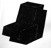 Oscar Tuazon, &quot;Two-part Chair,&quot; 2012. Ink on paper.