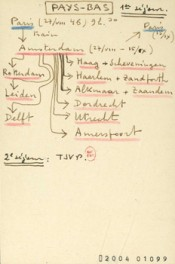 Schematic itinerary made by Alexandre Kojève depicting his travels through the Netherlands in 1946.*