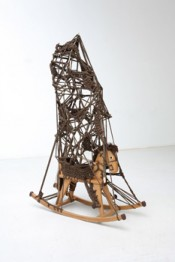 "Alexandra Bircken, ""Pferdchen,"" 2008. Rocking horse (wood), knots, bolts, wool. 13.75 x 88.5 x 36 cm."