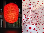 "Left: Aida Makoto, ""Heart,"" 2011. Right: Yayoi Kusama, ""With All My Love for the Tulips, I Pray Forever,"" 2011."