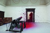 "Anish Kapoor, ""Shooting into the Corner,"" 2008–2009. Mixed media, dimensions variable. Installation: Royal Academy of Arts, London, 2009.*"