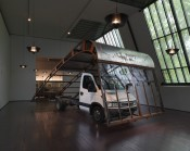 "Simon Starling, ""Prouvé (Road Test),"" 2012. Truck, Jean Prouvé ""Shed'"" roof section, 1956.*"