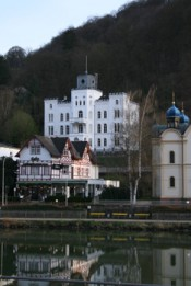 "Kuenstlerhaus Schloss Balmoral next to the river ""Lahn"" and the Russian Orthodox Church.*"