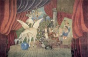 "Pablo Picasso, Stage curtain for the ballet ""Parade,"" 1917. Tempera on canvas. 1,050 × 1,640 cm.*"