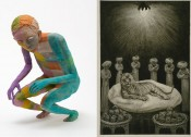 "Left: Francis Upritchard, ""Jockey,"" 2012. Right: Alfred Kubin, ""The Lord of the World,"" 1900."