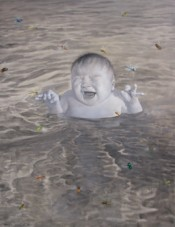 Fang Lijun, &quot;2007.4.6,&quot; 2007. Oil on canvas, 180  140 cm.*