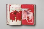 "Dieter Roth (1930–1998), ""Notebook,"" 1967 (detail). Hardcover leatherbound diary with drawings, coloured sketches, collages. 17.5 x 11 x 3 cm ( 6 7/8 x 4 3/8 x 1 1/8 inches). © Dieter Roth Estate."