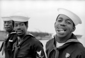 "Alvin Baltrop, ""Three Navy Sailors,"" 1969–72. Gelatin silver print, 8½ × 12¾ inches. Collection Morteza Barharloo, Houston."