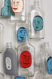 Barry McGee, Untitled, 2005. Acrylic on glass bottles, wire; dimensions variable.