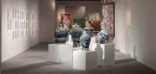 "Installation view of ""Spectral Imprints,"" ACAP 2012 at Art Dubai, including artworks ""To My Brother"" by Taysir Batniji (left), ""China"" by Raed Yassin (front) and ""The Seven Seas"" by Risham Syed (back)."