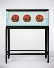 Jeff Koons, &quot;Three Ball 50/50 Tank (Spalding Dr. JK Silver Series),&quot; 1985. Glass, steel, distilled water, three basketballs, 153.7 x 123.8 x 33.7 cm.  Jeff Koons.