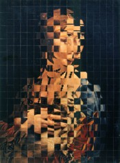Ji Kol, &quot;Lady with an Ermine&quot; (fragment), 1966. Rollage and chiasmage, courtesy of Neues Museum Nuremberg.