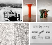 Clockwise from top left: Chris Burden,Dominique Gonzalez-Foerster,John Chamberlain, Sol LeWitt, Lawrence Weiner.