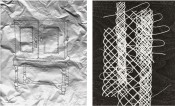 "Left: Vik Muniz, ""Cabinet of Curiosity,"" 2012. Right: Terry Winters, ""Strings (for Cabinet),"" 2012."