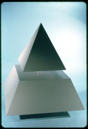 "Raivo Puusemp, ""Floating Pyramid,"" 1965. Wood, plexiglass, 48 x48 x66 inches. Courtesy the artist."