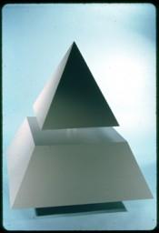 "Raivo Puusemp, ""Floating Pyramid,"" 1965. Wood, plexiglass, 48 x48 x66 inches.Courtesy the artist."