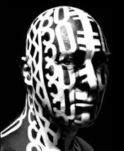 "Kendell Geers, ""Fuckface,"" 2005. Spray paint on human skull."