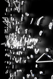 """Tavares Strachan, """"I Belong Here,"""" 2012. White neon, dimensions variable."""