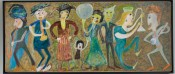 "Jon Serl, American, 1894–1993, ""Family Band."" Oil paint on fiberboard,43-3/4 x 104 inches (111.1 x 264.2 cm). Philadelphia Museum of Art, TheJill and Sheldon Bonovitz Collection."