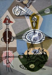 """Gordon Onslow-Ford, """"The Marriage,"""" 1944. Courtesy private collection. © Lucid Art Foundation."""