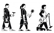 "ASK! with Andreas Siekmann, ""Domestic workers army,"" 2011. Design for isotype of inverse graffiti stencils."