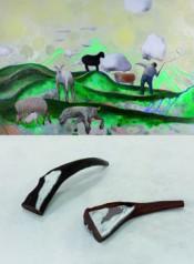 """Top: Duan Jianyu, """"The Lonely Shepherd,"""" 2012;Bottom: HuXiaoyuan, """"Wood/Thing/No.1,"""" 2012;Hu Xiaoyuan, """"Wood/Thing/No.2,"""" 2012.*"""