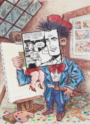 "Art Spiegelman, ""Comics as a Medium for Self Expression?"" Cover, PRINT magazine. Ink and watercolor on paper. May–June 1981. Courtesy of the artist."
