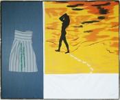 """Martin Kippenberger, """"Vorfreude seitenverkehrt: Ich muss zuhause bleiben (Copa und Ipa),"""" 1986. Fabrics, cardboard, 75 x 90 cm."""
