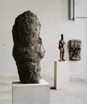 "Hans Josephsohn, ""Untitled,"" 1995–96. Semi-figure. Brass, 155 x 68 x 46 cm.*"