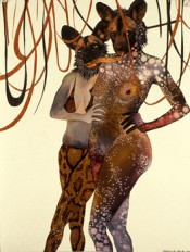 Wangechi Mutu, &quot;Intertwined,&quot; 2003. Collage and watercolour on paper. Collection Susanne Vielmetter, Los Angeles. Image courtesy and  the artist.