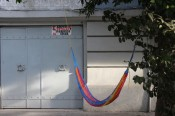 Bur de intervenciones pblicas, &quot;Hamacario,&quot; 2013. Hammock installed in public space as part of the project &quot;Raw Material / Materia Prima,&quot; Mexico City. Courtesy of Proyectos Ultravioleta, Guatemala City and Emiliano Valds.