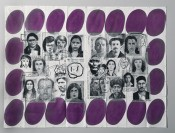 Eugenio Dittborn, &quot;The 23rd History of the Human Face (Aljo-Violet). Airmail Painting No. 128,&quot; 1999. Paint, stitching, non-woven fabric and photo-silkscreen on two sections of cotton duck, 210 x 280 cm.Collection of Museum Het Domein, Sittard.Purchased in 2012 with support of the Mondriaan Fund.
