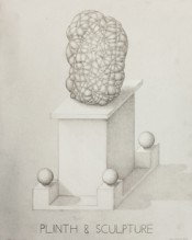 Paul Noble, &quot;Plinth &amp; Sculpture,&quot; 2013. Pencil on paper, 24 x 30 cm.
