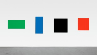 "Ellsworth Kelly, ""Green Blue Black Red,"" 2007. Oil on canvas, four panels, 345 x 217 inches. Private collection. Photo: Jerry L. Thompson. Courtesy the artist. © Ellsworth Kelly."